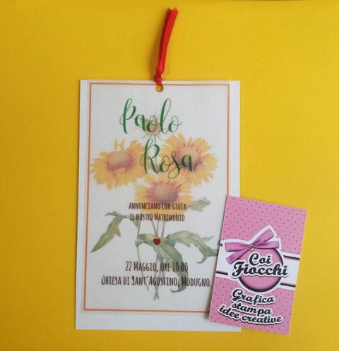 partecipazione-nozze-margherite-gialle e carta trasparente - coi fiocchi
