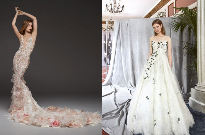 tendenze-nozze-2019-applicazioni-floreali su abiti da sposa di pronovias e yolan cris
