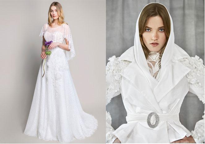 tendenze-nozze-2019-abito da sposa  con mantella di blumarine e abito con collo a cappuccio di yolan cris