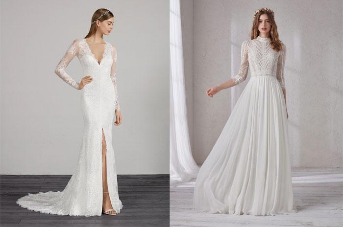 tendenze-nozze-2019-abiti da sposa con spacco e modello accollato