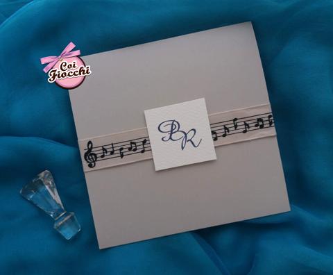partecipazione nozze tema musica con pentagramma