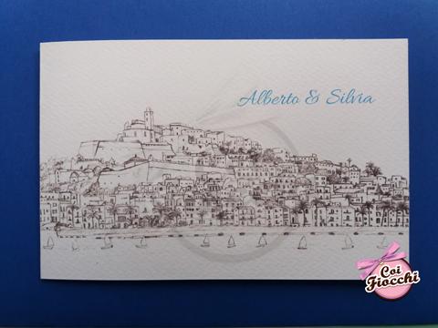 partecipazione di nozze a tema mare personalizzata con disegno della vista di Ibiza