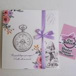 Partecipazione nozze a tema alice nel paese delle meraviglie vintage