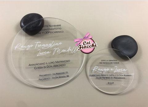Partecipazione e invito nozze in plexiglass trasparente a forma di cerchio