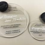 partecipazione nozze in plexiglass trasparente tonda