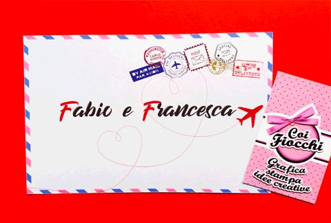partecipazioni-di-matrimonio-ecologiche-in-carta-riciclata a tema viaggio in stile posta aerea
