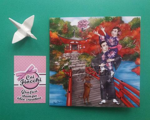 partecipazione nozze con caricature manga degli sposi a tema giappone vestiti con lo yukata e alle spalle un tempio di kyoto