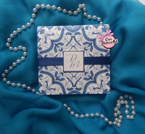 scegliere la carta per l'invito di matrimonio- disegno maioliche su carta perlata