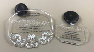 Partecipazioni di matrimonio originali in plexiglass-coi fiocchi