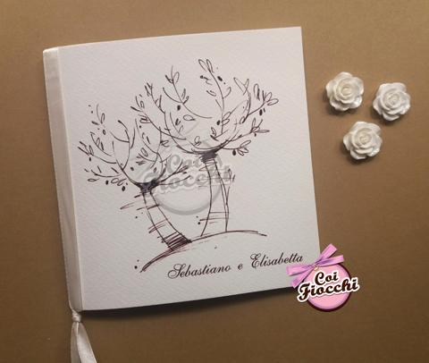 libretto matrimonio personalizzato con alberi di ulivo disegnati