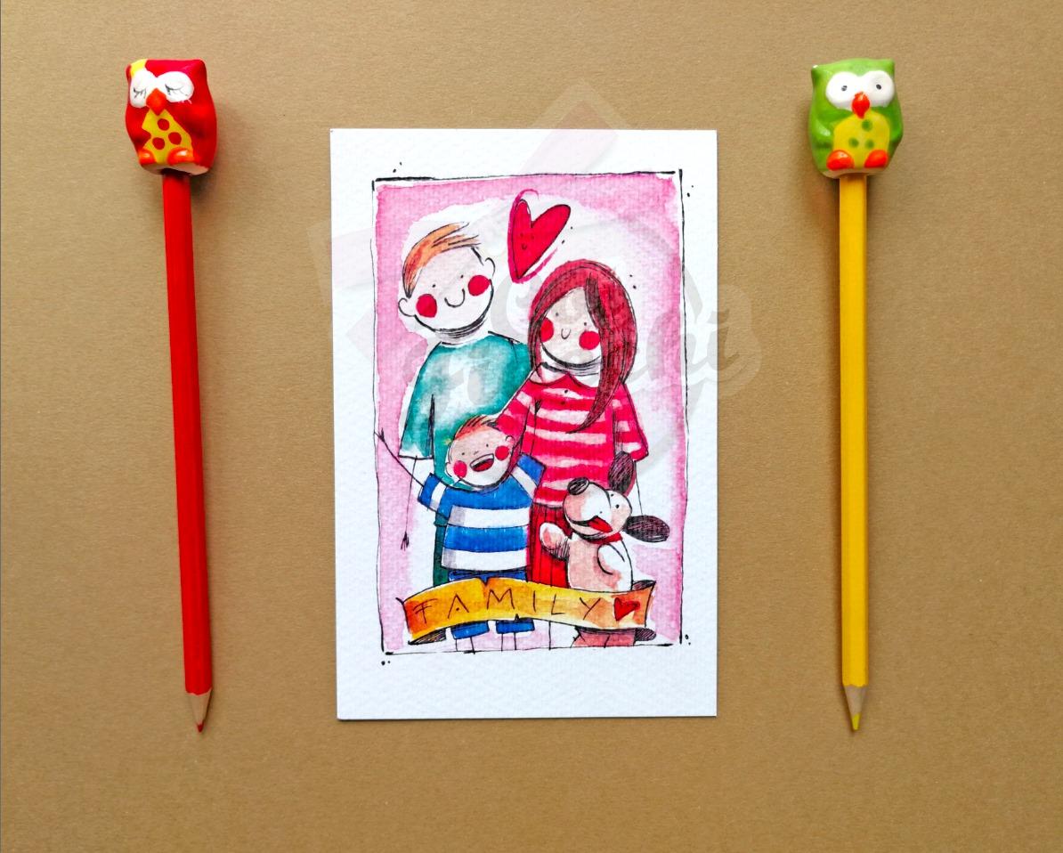 partecipazioni-di-matrimonio-illustrate-ad-acquerello-mamma-e- papà-si-sposano-ritratto-di-famiglia-con-cane-by-simona-ercole-per-coi-fiocchi