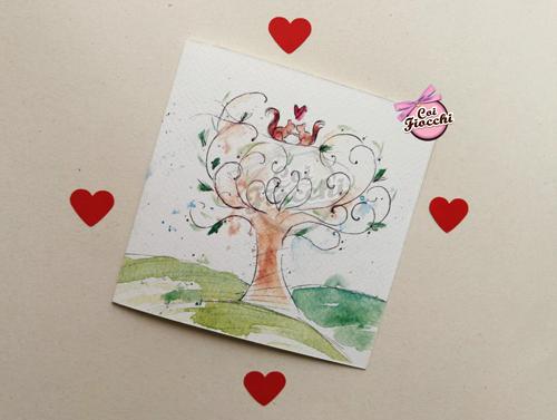 partecipazione-di-matrimonio-illustrata-ad-acquerello con albero e una coppia di scoiattolini-by smoun tattoo