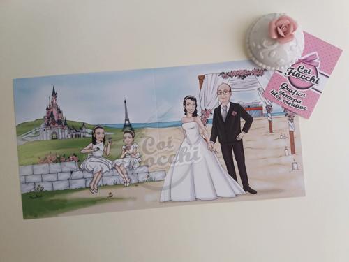 partecipazione nozze con caricatura sposi stile principesse disney con castello e gazebo