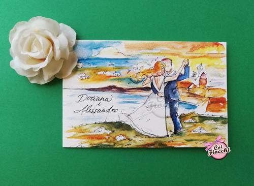 partecipazione-di-matrimonio-illustrate-ad-acquerello-coppia-romantica che balla al tramonto by smoun tattoocoi-fiocchi