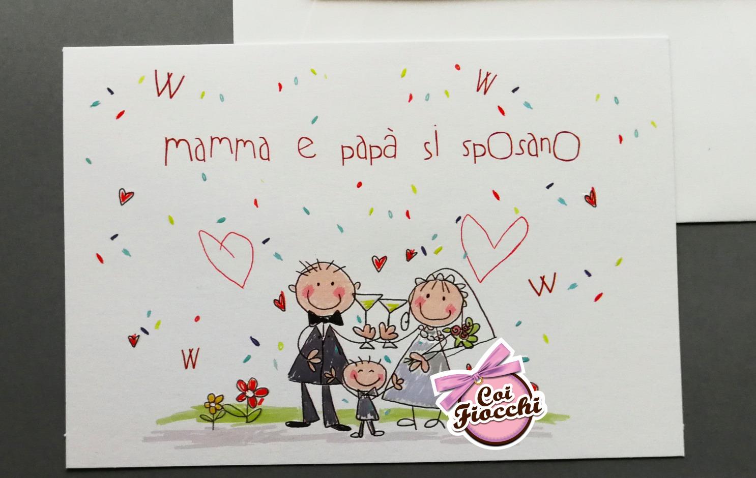 partecipazione nozze mamma e papà si sposano stile disegno bimbo