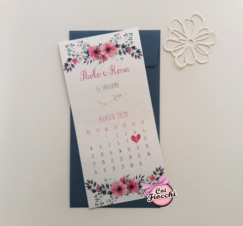 invito-nozze-rettangolare-boho-chic-con-decoro-floreale e calendario