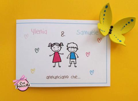 partecipazione nozze bimbi stilizzati annunciano nozze genitori