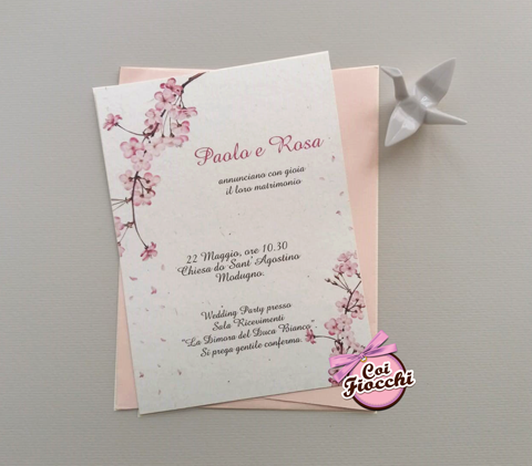 partecipazione matrimonio boho con fiori di ciliegio