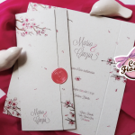 partecipazione matrimonio fiori di ciliegio e sigillo in ceralacca