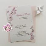 partecipazione matrimonio boho fiori di ciliegio
