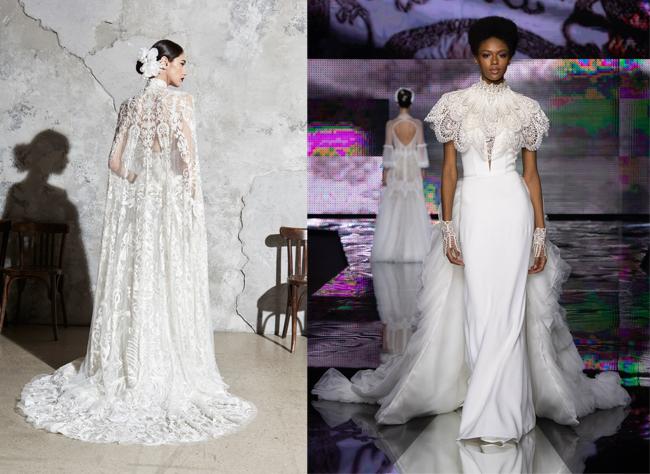 tendenze abiti da sposa 2020: abiti con mantello o mantella in pizzo