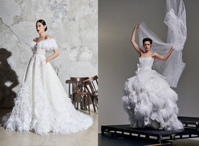 tendenze moda sposa 2020 con le piume di struzzo