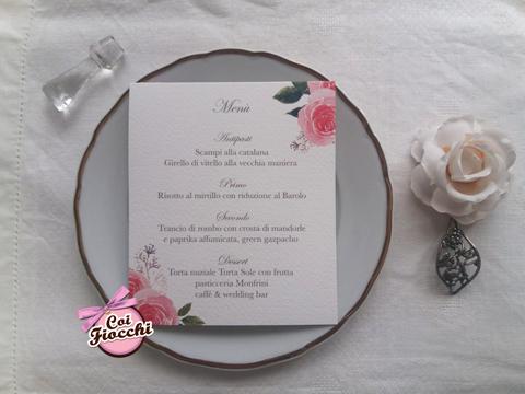 menu matrimonio personalizzato con fiori