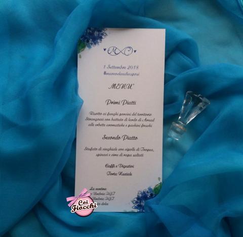 menu nozze in carta riciclata con ortensie