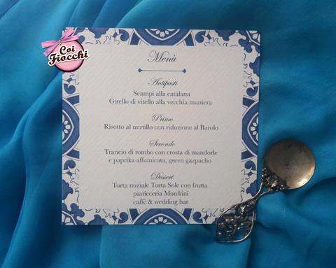 menu nozze a tema maiolica