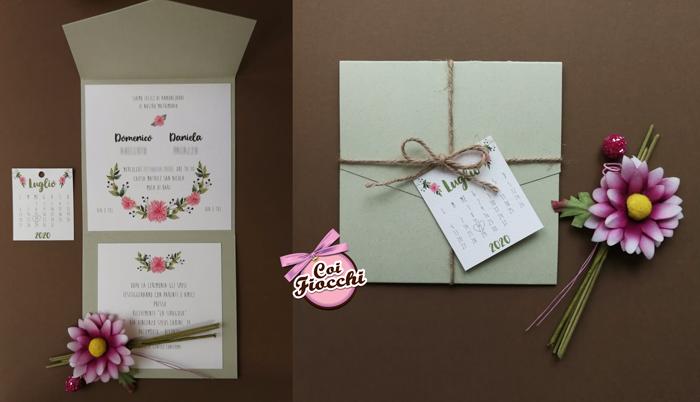 Partecipazione matrimonio in carta riciclata in stile boho chic