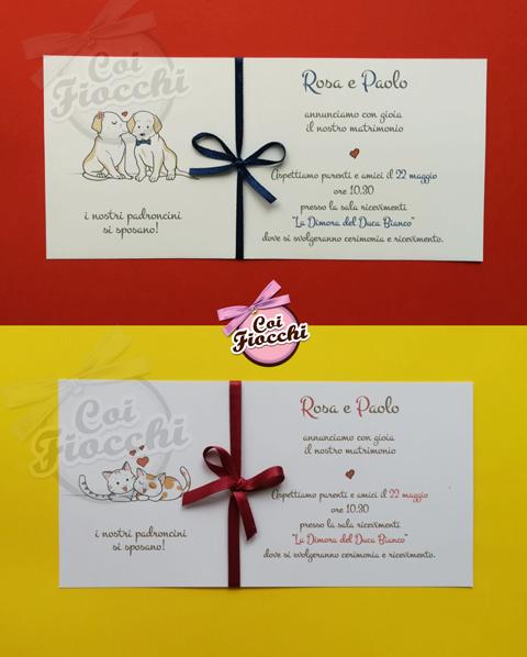 partecipazione nozze con cagnolini o gattini simpatici disegnati a mano