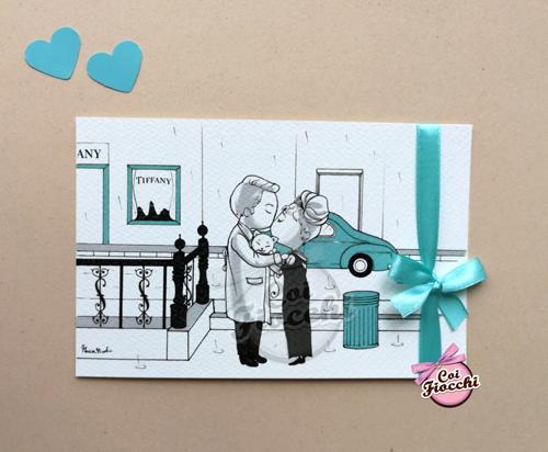 partecipazione matrimonio simpatica con disegno stilizzato ispirato a colazione da tiffany