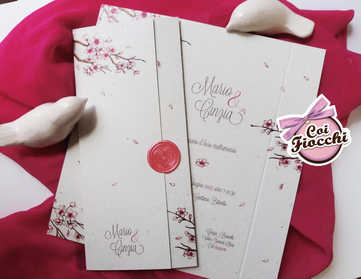 Scegliere la carta giusta per la partecipazione di nozze _carta riciclata con rami di ciliegio e ceralacca