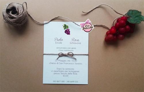 partecipazione in carta riciclata a tema uva