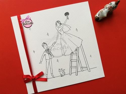 partecipazione nozze con gattino e disegno romantico degli sposi