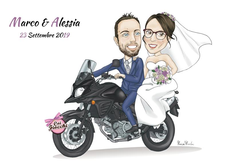 poster con caricatura sposi in moto