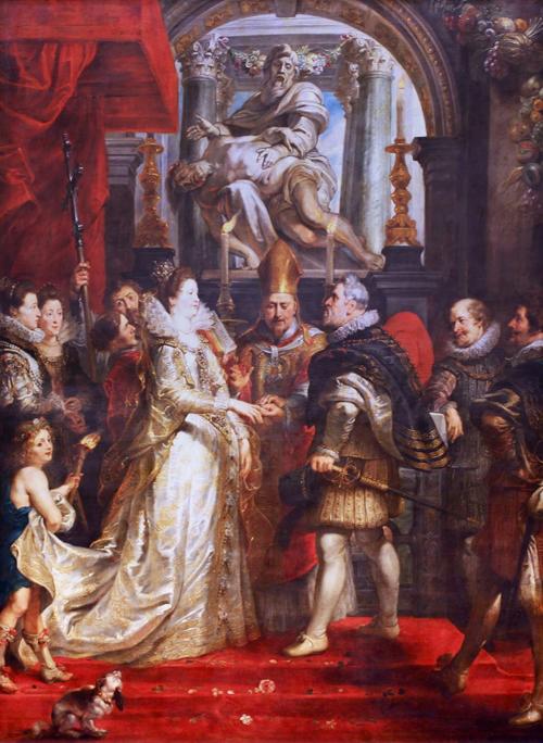 Matrimonio di Maria de' Medici con Enrico IV di Francia dipinto da Rubens nel 1620