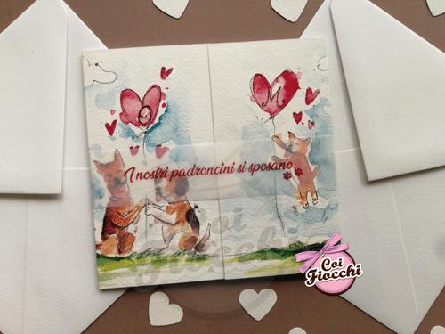 Partecipazione matrimonio illustrata ad acquerello con cuori e cagnolini