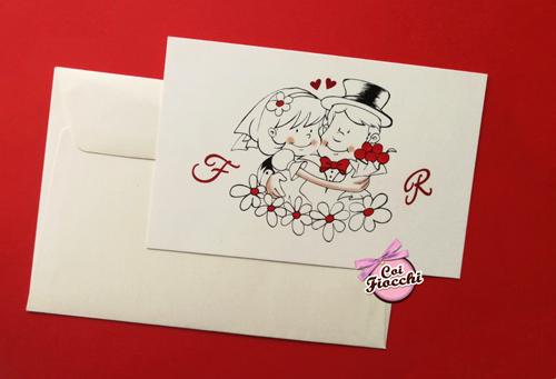 partecipazione matrimonio simpatica con iniziali e disegno stilizzato sposi