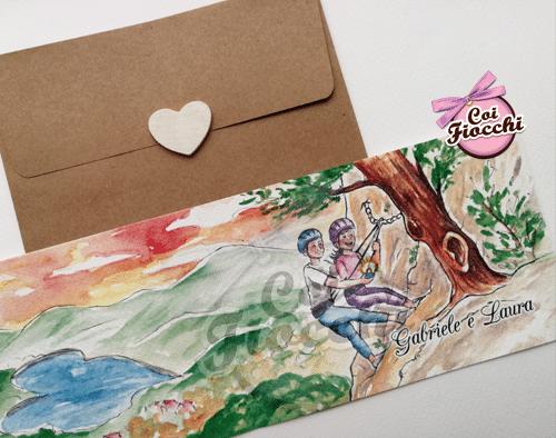 Partecipazione con disegno ad acquerello degli sposi che scalano una montagna