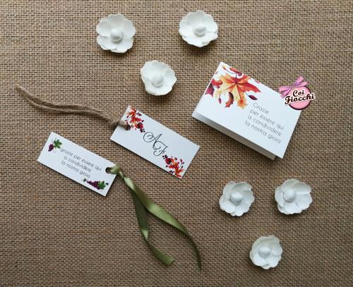 segnaposti semplici in cartoncino per nozze a tema autunno