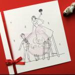 partecipazione nozze romantica con sposini disegnati su scala