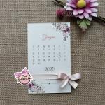 partecipazione nozze boho chic con calendario