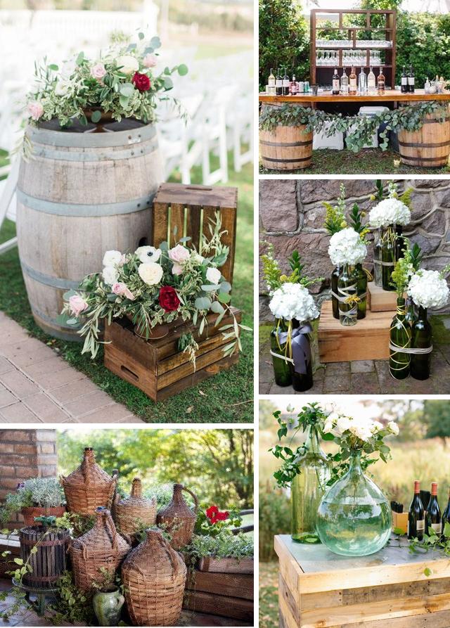 idee allestimento location matrimonio a tema vino botti cassette di legno damigiane e bottiglie
