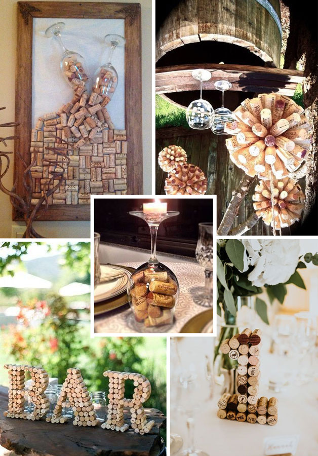 idee decorazioni matrimonio tema vino con tappi di sughero