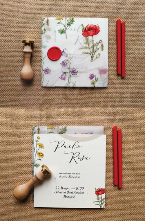 Partecipazione con fiori di campo su carta trasparente e sigillo in ceralacca
