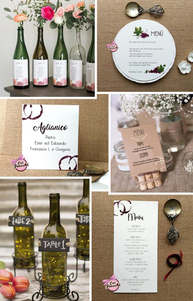 idee per segnatavoli e menu a tema vino