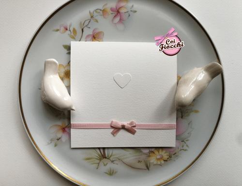 partecipazione elegante con fiocco rosa semplice