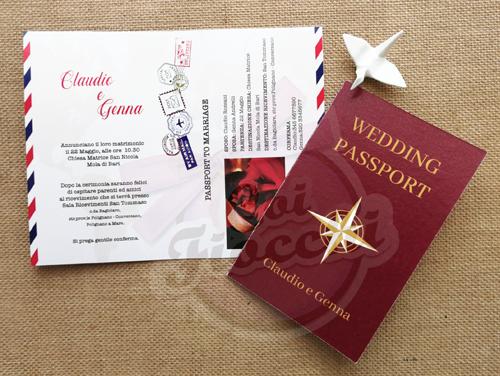 invito nozze a tema viaggio passaporto