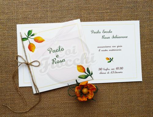 partecipazione-matrimonio-rustico cornice con agli angoli limoni-acquerello